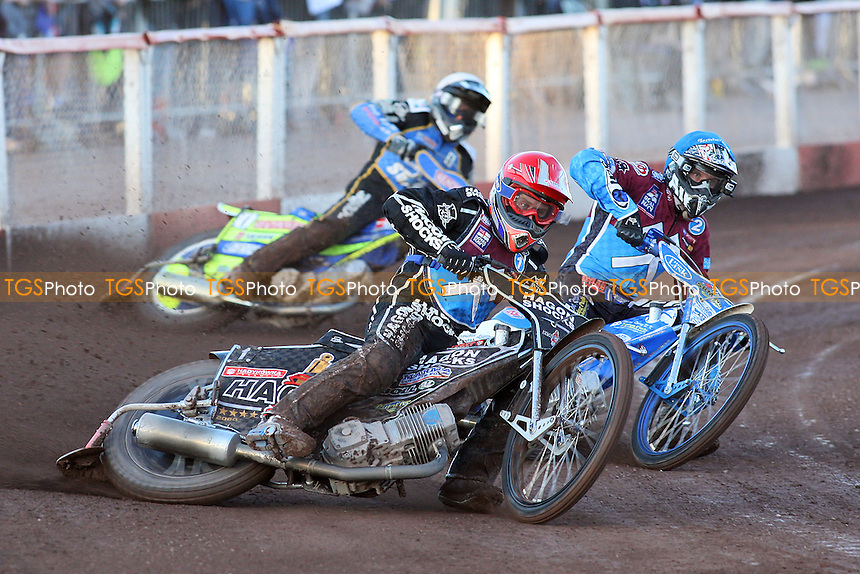 Heat 1: Lee Richardson (red), Kauko Nieminen (blue) and Kenneth Bjerre - Lakeside Hammers vs King's Lynn Stars - Elite League Speedway at Arena Essex Raceway - 21/05/11 - MANDATORY CREDIT: Gavin Ellis/TGSPHOTO - Self billing applies where appropriate - Tel: 0845 094 6026