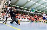 Eskilstuna 2014-10-03 Handboll Elitserien Eskilstuna Guif - Alings&aring;s HK :  <br /> Eskilstuna Guifs m&aring;lvakt Herdeiro Lucau r&auml;ddar ett skott under matchen mellan Eskilstuna Guif och Sk&ouml;vde <br /> (Foto: Kenta J&ouml;nsson) Nyckelord:  Eskilstuna Guif Sporthallen IFK Sk&ouml;vde HK