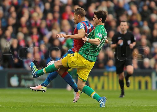 09.04.2016. Selhurst Park, London, England. Barclays Premier League. Crystal Palace versus Norwich. Norwich City Defender Timm Klose tackles Crystal Palace Forward Dwight Gayle