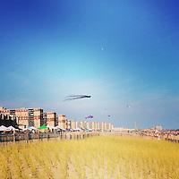 Kites over Rockaway Beach in Queens, New York, on August 29, 2015.
