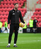 Lincoln City's first team coach/under 23 manager Jamie McCombe during the pre-match warm-up<br /> <br /> Photographer Andrew Vaughan/CameraSport<br /> <br /> The EFL Sky Bet League Two - Swindon Town v Lincoln City - Saturday 12th January 2019 - County Ground - Swindon<br /> <br /> World Copyright &copy; 2019 CameraSport. All rights reserved. 43 Linden Ave. Countesthorpe. Leicester. England. LE8 5PG - Tel: +44 (0) 116 277 4147 - admin@camerasport.com - www.camerasport.com