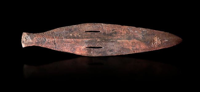 Cycladic bronze spearhead.  Early Cycladic II (2800-2300 BC) , Amorgos. National Archaeological Museum Athens.  Black background.