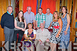 CLAN: Brosnan's-Lyons return to their roots in Castleisland from America to attend the inauguration Festival Banquets to alect the Chieftain in the River Island Hotel, Castleisland on Saturday evening in conjuction with the East Kerry Roots Festival & The Brosnan Clan Gathering. Front L-r:Thomas and, Bríd Lyons,,Eileen and James Lyons and Maura Hourihan. Back l-r: John,Tom,Terence and Mary Brosnan.