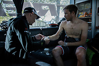 the team doctor helping Gregory Rast (SUI/Trek-Segafredo) applying wristtape to better endure the upcoming cobble strokes<br /> <br /> 115th Paris-Roubaix 2017 (1.UWT)<br /> One Day Race: Compi&egrave;gne &rsaquo; Roubaix (257km)