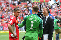 Charlton goalkeeper, Dillon Phillips, explains to Sky Sports how he conceded an early own goal from Naby Sarr during Charlton Athletic vs Sunderland AFC, Sky Bet EFL League 1 Play-Off Final Football at Wembley Stadium on 26th May 2019