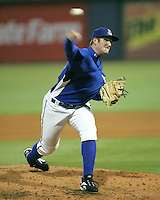 Durham Bulls pitcher Nick DeBarr delivers  against the Charlotte Knights on April 22nd, 2008 at Durham Bulls Athletic Park. Photo by Andrew Woolley / Four Seam Images.