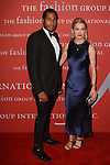 Hassan Pierre and Amanda Hearst arrive at The Fashion Group International's Night of Stars 2017 gala at Cipriani Wall Street on October 26, 2017.