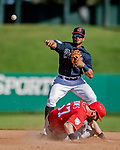 25 February 2019: Atlanta Braves infielder Ray-Patrick Didder turns a double-play in the 8th inning of a pre-season Spring Training game against the Washington Nationals at Champion Stadium in the ESPN Wide World of Sports Complex in Kissimmee, Florida. The Braves defeated the Nationals 9-4 in Grapefruit League play in what will be their last season at the Disney / ESPN Wide World of Sports complex. Mandatory Credit: Ed Wolfstein Photo *** RAW (NEF) Image File Available ***