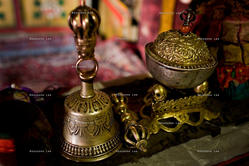 Tibetan Buddhist prayer items in the Diskit Monastery, Nubra Valley, Ladakh on 4th June 2009. The valley of Ladakh is located in the Indian Himalayas, in the northern state of Jammu and Kashmir. Photo by Suzanne Lee