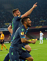 David Lopez celebrates after scoring during Europa League Semi Final first    leg soccer match, between SSC Napoli and  Dinipro   at  the San Paolo   stadium in Naples  Italy , May 07, 2015