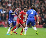 Raheem Sterling of Liverpool between Ramires and Branislav Ivanovic of Chelsea - Barclays Premier League - Liverpool vs Chelsea - Anfield Stadium - Liverpool - England - 8th November 2014  - Picture Simon Bellis/Sportimage