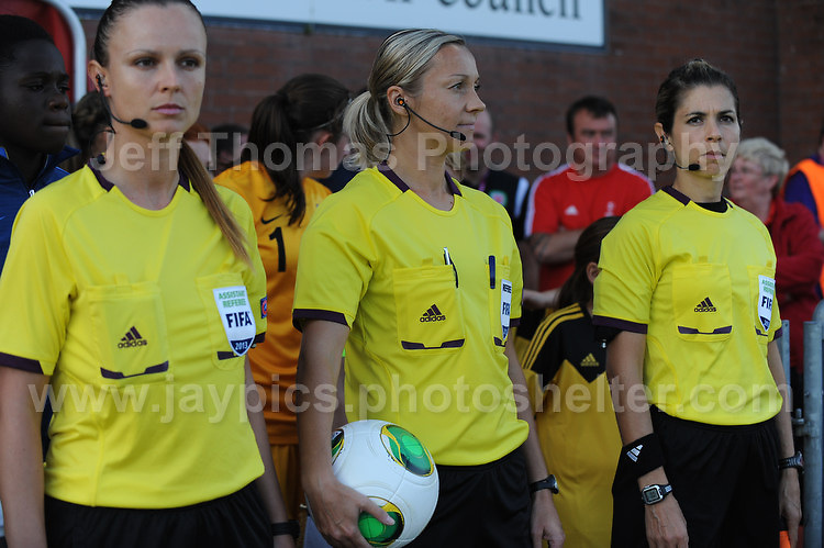 The referee and the assistant referees prepare to enter the field at the UEFA Womens U19 Championships at Stebonheath Park, Llanelli  Monday 19th August 2013. All images are the copyright of Jeff Thomas Photography-www.jaypics.photoshelter.com-07837 386244-Any use of images must be authorised by the copyright owner.