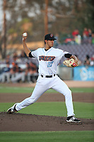Jesus Castillo (8) of the Inland Empire 66ers pitches against the Modesto Nuts at San Manuel Stadium on June 2, 2017 in San Bernardino, California. Inland Empire defeated Modesto, 7-2. (Larry Goren/Four Seam Images)