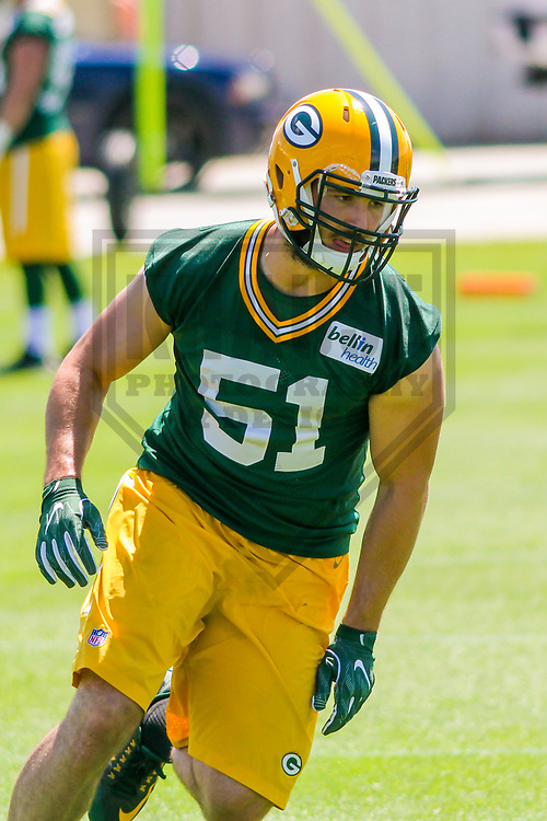 Green Bay Packers linebacker Kyler Fackrell (51) during a minicamp practice on June 15, 2017 at Clarke Hinkle Field in Green Bay, Wisconsin.  (Brad Krause/Krause Sports Photography)