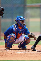 GCL Mets catcher Jose Mena (38) awaits a pitch during a game against the GCL Marlins on August 3, 2018 at St. Lucie Sports Complex in Port St. Lucie, Florida.  GCL Mets defeated GCL Marlins 3-2.  (Mike Janes/Four Seam Images)