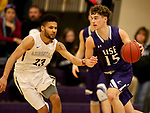 SIOUX FALLS, SD - DECEMBER 31: Drew Maschoff #15 from the University of Sioux Falls looks to make a move against Jordan Spencer #23 from Augustana University during their game Sunday afternoon December 31, 2017 at the Stewart Center in Sioux Falls, SD.  (Photo by Dave Eggen/Inertia)