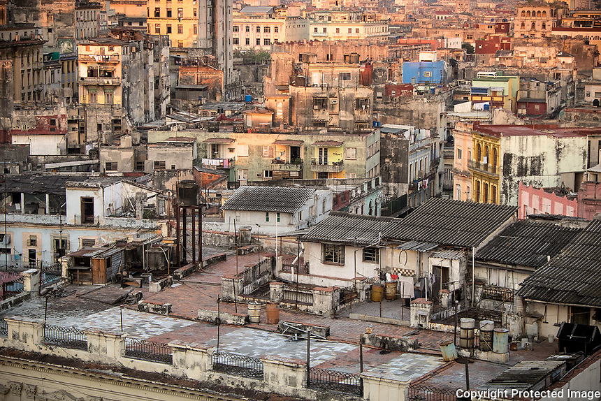 Havana, Cuba: Elevated view of Old Havana buildings at dawn