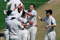 Tim Southee celebrates the wicket of Mark Stoneman, New Zealand Black Caps v England. Day 1 of the day-night, pink ball cricket test match at Eden Park in Auckland. 22 March 2018. Copyright Image: William Booth / www.photosport.nz