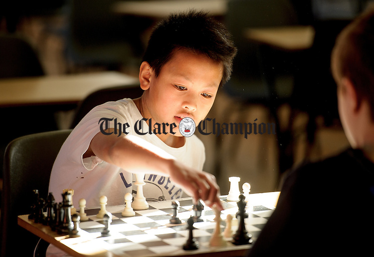Joshua Cesar of Shannon competing at the Clare Community games chess county finals in St Flannan's college, Ennis. Photograph by John Kelly.