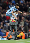 Jesus Navas of Manchester City prepares to come on during the Champions League Group C match at the Etihad Stadium, Manchester. Picture date: November 1st, 2016. Pic Simon Bellis/Sportimage