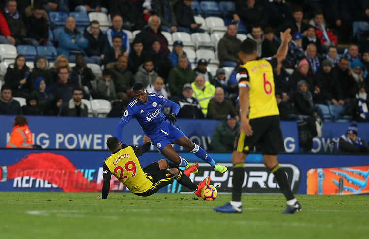 Referee Graham Scott shows a straight red card to Watford's Etienne Capoue for this challenge on Leicester City's Kelechi Iheanacho <br /> <br /> <br /> <br /> Photographer Stephen White/CameraSport<br /> <br /> The Premier League - Leicester City v Watford - Saturday 1st December 2018 - King Power Stadium - Leicester<br /> <br /> World Copyright © 2018 CameraSport. All rights reserved. 43 Linden Ave. Countesthorpe. Leicester. England. LE8 5PG - Tel: +44 (0) 116 277 4147 - admin@camerasport.com - www.camerasport.com
