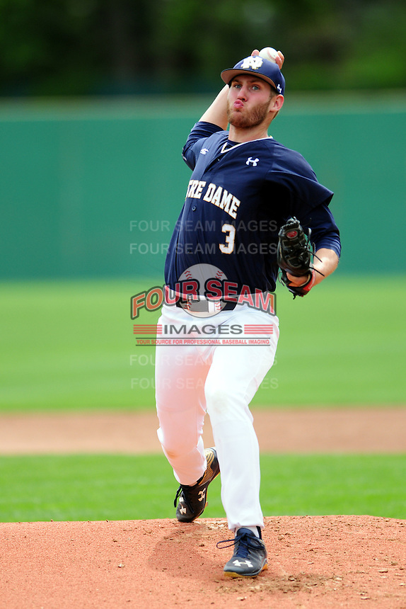 Notre Dame Fighting Irish pitcher Ryan Smoyer (3) during a game versus the Boston College Eagles at Pellagrini Diamond at Shea Field on May 15, 2015 in Chestnut Hill, Massachusetts.  (Ken Babbitt/Four Seam Images)