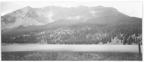 Looking across Trout Lake to Sheep Mountain.  Lizard Head is to the right and out of the picture.<br /> RGS  Trout Lake, CO  Taken by Hilner, Ray C. - 8/18/1950
