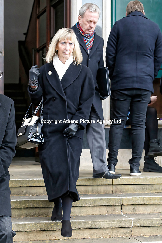 COPY BY TOM BEDFORD<br /> Pictured: Ann Jones (L), the receptionist at the surgery which turned away Ellie May Clark, leaves Newport Coroner's Court. Monday 26 February 2018<br /> Re: Inquest held at Newport Coroner's Court, into the death of five year old Ellie-May Clark who died of an asthma attack, after being refused a GP appointment in Newport, south Wales. <br /> Dr Joanne Rowe refused to see her, on the grounds that her mother was a few minutes late for a booked appointment.<br /> A few hours later, Ellie-May Clark suffered a seizure and died, despite the efforts of an ambulance crew.