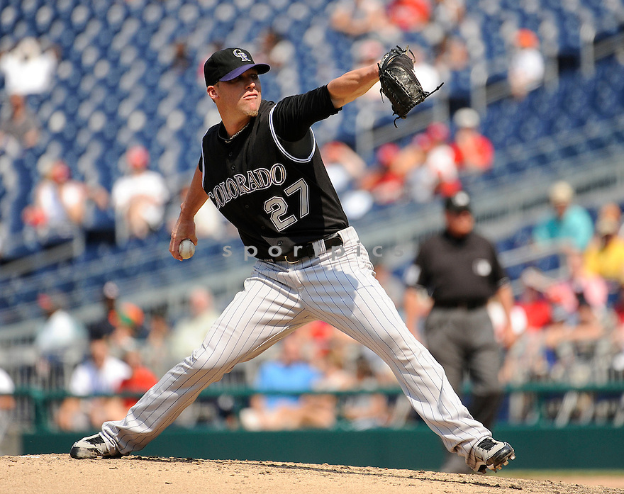 MATT LINDSTROM, of the Colorado Rockies, in action during the Rockies game against the Washington Nationals on July 10,2011 at Nationals Park in Washington, D.C. The Nationals beat the Rockies 2-0.