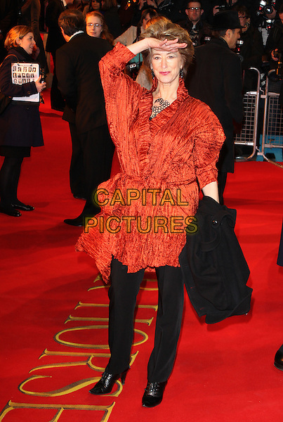 Maureen Lipman.UK Premiere of 'War Horse' at the Odeon, Leicester Square, London, England..January 8th 2012.full length black jacket orange trousers hand salute on forehead .CAP/ROS.©Steve Ross/Capital Pictures