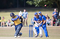 Rishi Patel of Essex lofts square of the wicket during Upminster CC vs Essex CCC, Benefit Match Cricket at Upminster Park on 8th September 2019