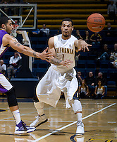 Justin Cobbs of California passes the ball during the game against SFSU at Haas Paviliion in Berkeley, California on November 6th, 2012.  California defeated San Francisco State, 89-80.