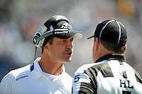 Sep. 20, 2009; San Diego, CA, USA; Baltimore Ravens head coach Jim Harbaugh yells at a referee in the second quarter against the San Diego Chargers at Qualcomm Stadium in San Diego. Baltimore defeated San Diego 31-26. Mandatory Credit: Mark J. Rebilas-