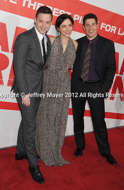 HOLLYWOOD, CA - MARCH 19: Eddie Kaye, Jenny Mollen and Jason Biggs attend the 'American Reunion' Los Angeles Premiere at Grauman's Chinese Theater on March 19, 2012 in Hollywood, California.