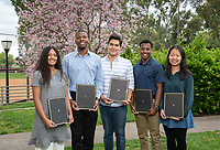Graduating seniors, from left: Dean's Award for Excellence recipient Anna Palmer; Dean's Award for Service recipient Jacques Lesure; Dean's Award for Equity recipient Diego Zapata; Dean's Award for Community recipient Rahsaan Middleton and Dean's Award for Equity recipient Manjun Hao.<br /> Photo taken April 30, 2019 outside Lower Herrick.<br /> (Photo by Marc Campos, Occidental College Photographer)