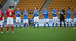 St Johnstone v Ross County....22.11.14   SPFL<br /> The players lead a minutes applause for former saints manager Jim Storrie who passed away<br /> Picture by Graeme Hart.<br /> Copyright Perthshire Picture Agency<br /> Tel: 01738 623350  Mobile: 07990 594431