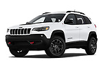 Stock pictures of low aggressive front three quarter view of a 2019 Jeep Cherokee Trailhawk 5 Door SUV