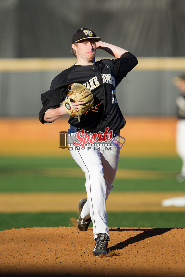 Wake Forest Demon Deacons starting pitcher John McLeod (17) in action against the Missouri Tigers at Wake Forest Baseball Park on February 22, 2014 in Winston-Salem, North Carolina.  The Demon Deacons defeated the Tigers 1-0.  (Brian Westerholt/Sports On Film)