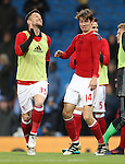 Goalscorer Marten de Roon of Middlesbrough (l) re-enacts his goal with David Nugent of Middlesbrough during the Premier League match at the Etihad Stadium, Manchester. Picture date: November 5th, 2016. Pic Simon Bellis/Sportimage