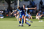 CARY, NC - AUGUST 18: Duke's Chelsea Burns (2) and North Carolina's Dorian Bailey (behind). The University of North Carolina Tar Heels hosted the Duke University Blue Devils on August 18, 2017, at Koka Booth Stadium in Cary, NC in a Division I college soccer game.