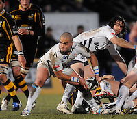 Wycombe, GREAT BRITAIN, Sales'  Sililo MARTENS clears thee ball from the back of the scrum, during the Guinness Premiership game, London Wasps vs Sale Sharks 15.04.2008 [Mandatory Credit Peter Spurrier/Intersport Images]