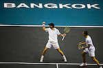 BANGKOK, THAILAND - OCTOBER 01:  Christopher Kas of Germany and Viktor Troicki of Serbia celebrate match point to  Jonathan Erlich of Israel and Jurgen Melzer of Austria on their doubles match during the Day 7 of the PTT Thailand Open at Impact Arena on September 30, 2010 in Bangkok, Thailand. Photo by Victor Fraile / The Power of Sport Images