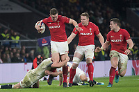 Twickenham, Surrey. UK.  George NORTH ,tackled low by Owen FARRELL, during the Six Nations Rugby Match, England vs Wales RFU Stadium, Twickenham. Surrey, England. on Saturday 10.02.18<br /> <br /> <br /> [Mandatory Credit Peter SPURRIER/Intersport Images]