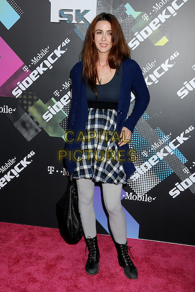 MADELINE ZIMA.The T-Mobile Sidekick 4G Launch Party held at a private lot in Beverly Hills, California, USA..April 20th 2011.full length blue cardigan checked dress tights black boots bag grey gray tartan plaid .CAP/ADM/BP.©Byron Purvis/AdMedia/Capital Pictures.