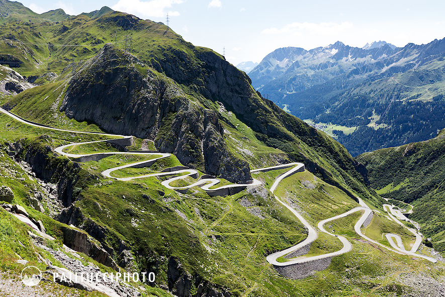 The old Gotthard Pass as seen from the new road which goes through tunnels.