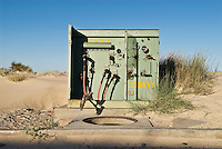 Old electrical box at abandoned housing development, Baja California, Mexico