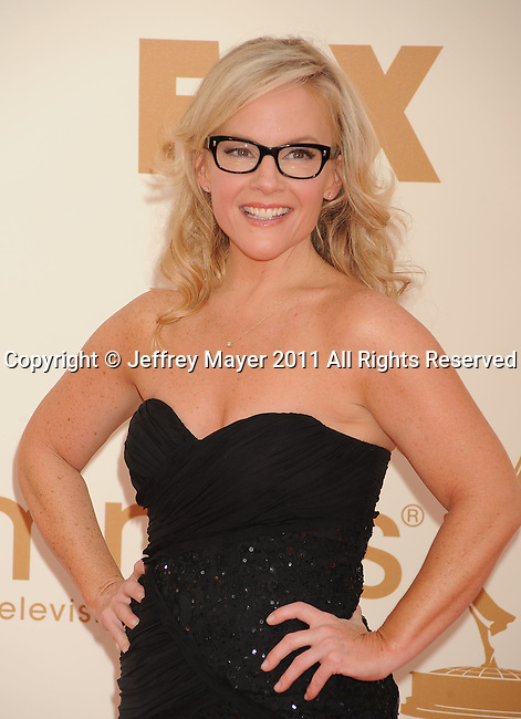 LOS ANGELES, CA - SEPTEMBER 18: Rachael Harris arrives at the 63rd Primetime Emmy Awards at the Nokia Theatre L.A. Live on September 18, 2011 in Los Angeles, California.