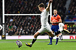 16.03.2019 Guinness Six Nations International Rugby England Vs Scotland at RFU Twickenham Stadium UK<br /> Owen Farrell converts a try for England The match was tied 38-38