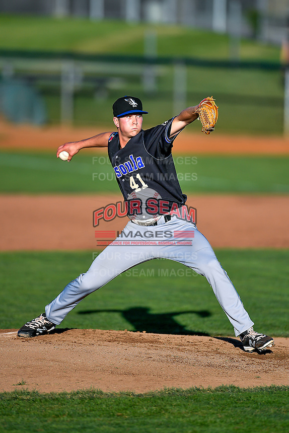 Missoula Osprey starting pitcher Pierce Romero (41) delivers a pitch to the plate against the Ogden Raptors in Pioneer League action at Lindquist Field on July 13, 2016 in Ogden, Utah. Ogden defeated Missoula 8-2. (Stephen Smith/Four Seam Images)