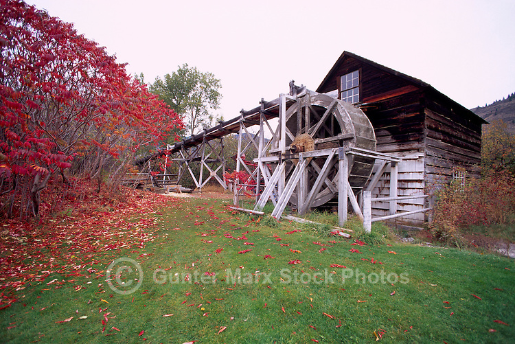 Keremeos, BC, British Columbia, Canada - Restored Historic Grist Mill (built 1877) at Grist Mill and Gardens Heritage Site, Similkameen Valley